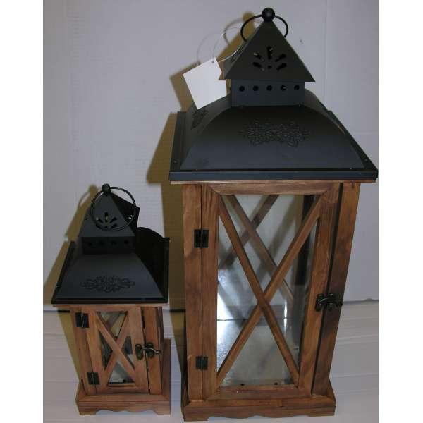 Holz-Laternen-Set 53+33 cm hoch Shabby Chic Braun Fachwerk Glas Vintage Landhaus