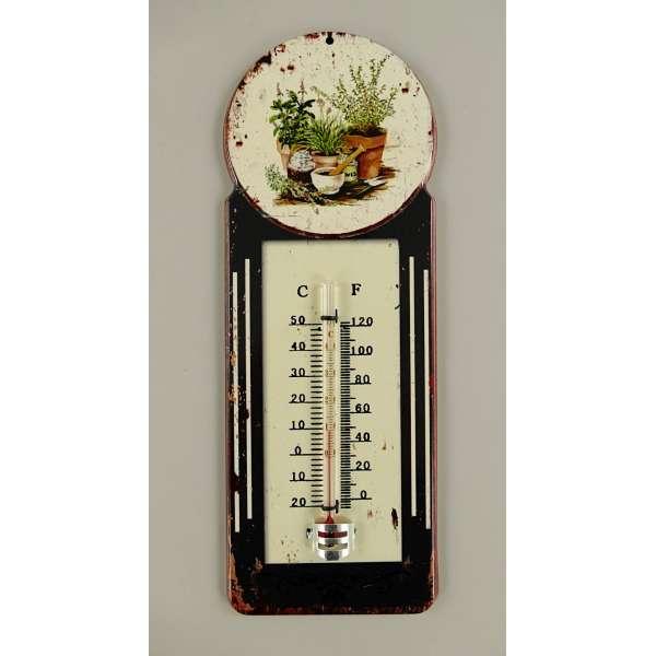 Nostalgisches Thermometer Wandthermometer Außen Blumen Garten Deko Antik Eisen