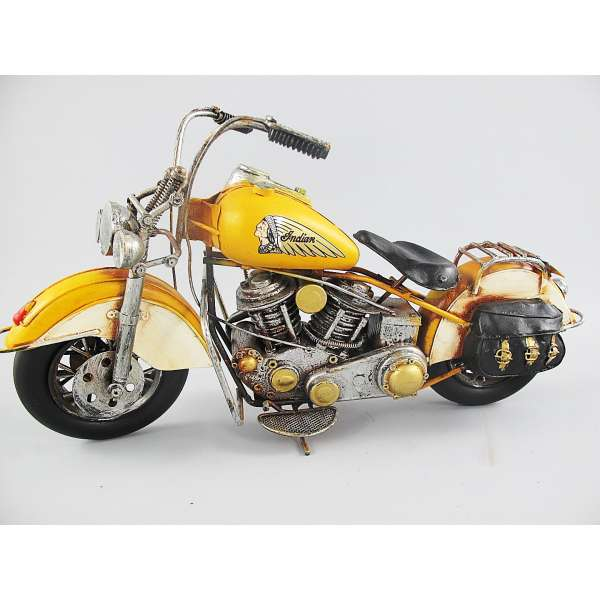 Großes Modell Motorrad Indian Gelb 42x22 cm Fahrzeug Retro Antik Stil Oldtimer