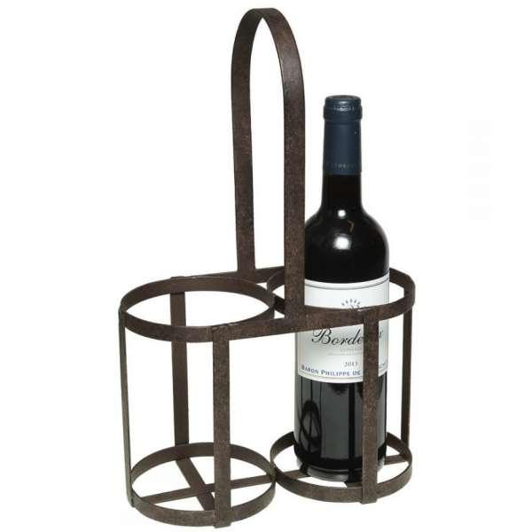 Flaschenträger für 2 Flaschen aus Eisen antik braun Flaschenhalter Flaschenkorb