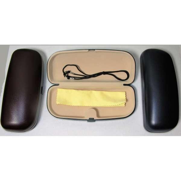 Brillenetui Brillenbox Hartschale Retro-Look mit Brillenband und Brillentuch Farbwahl