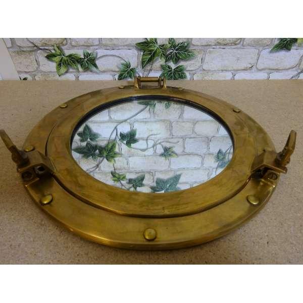 Nostalgie Wand-Spiegel BULLAUGE Aluminium 29cm gold- o. silber-farben maritim