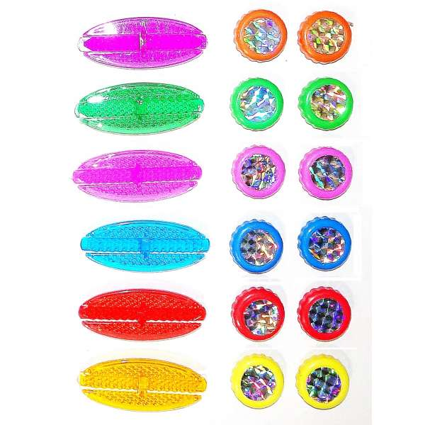 18 tlg Set Kinder Fahrrad Speichen-Reflektoren Katzenaugen farbig poppig bunt Dunlop