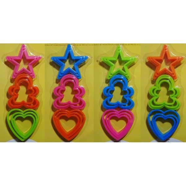 9x Ausstechform Stern Herz Figur Ausstecher Plätzchen Back Form Kunststoff bunt