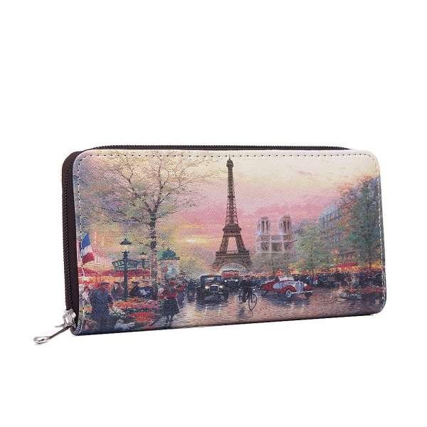 Damen Geldbörse XL nostalgisches Paris Geldbeutel Langbörse Brieftasche