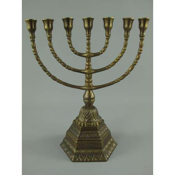 Menora Davidleuchter 7-armig 34cm Kerzenleuchter Ständer Bronze Antik Menorah