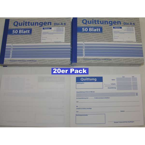 20x Quittungen Quittungsblock Quittungsblöcke 50 Blatt gelocht DIN A6 MwSt