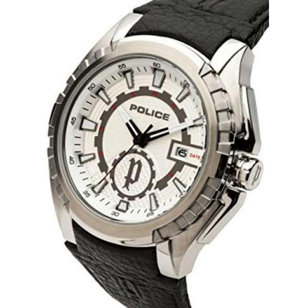 Police Herren-Armbanduhr Fighter Analog Quarz Uhr Leder Armband PL14194JS/04