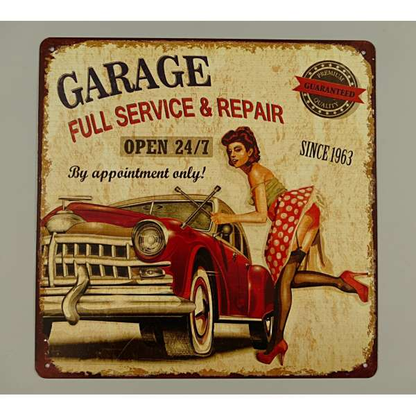 Blechschild Garage Full Service Deko Tür Wand Schild Pin up Metall Retro Blech Eisen
