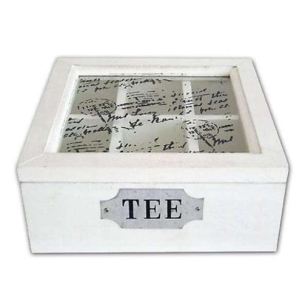 Rustikale Shabby Chic Teebox Teekiste ALT-WEISS Holz Teebeutel Box Landhausstil