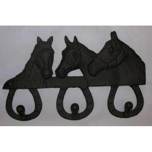 Wandhaken Pferde+Hufeisen Gusseisen Wandgarderobe Garderobenhaken Hakenleiste
