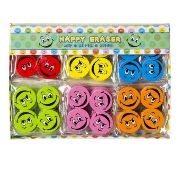 144x Smiley Happy Radiergummi Radierer Mitgebsel Kindergeburtstag Party Tombola