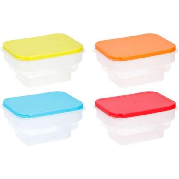 4x faltbare Frischhaltebox Brotdose Brotbox Lunchbox Pausenbox Box Dose Vesperdose