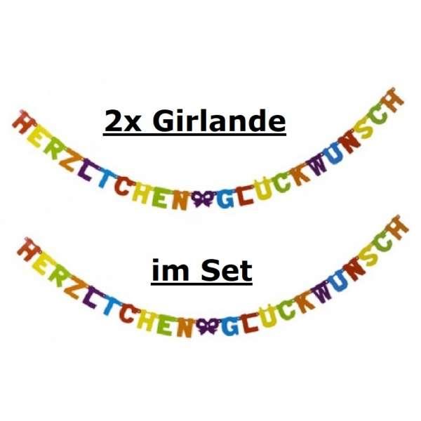 2x Girlande Banner Herzlichen Glückwunsch Geburtstag Party Deko mehrfarbig 238cm
