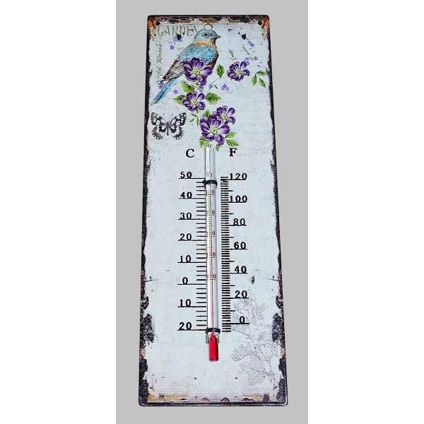 Nostalgisches Thermometer Wandthermometer Garten Vogel Blumen Deko Antik Eisen