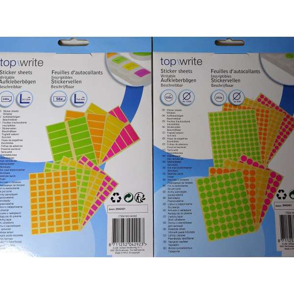 1068 Klebeetiketten Etiketten selbstklebend bunt beschreibbar Büro Küche Schule Farbcode