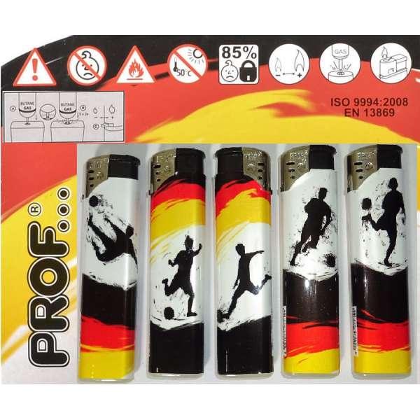 5x nachfüllbares Elektro Feuerzeug Prof Fussball Deutschland elektrisch Kindersicherung
