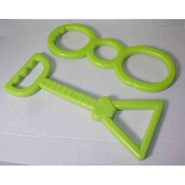 2er Set Hundespielzeug mit Handgriff Zerr Zieh Tau Kau Spielzeug Hund Haustier grün