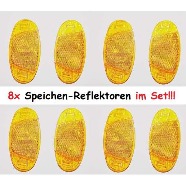 8er Set Fahrrad Speichen-Reflektoren Katzenaugen orange 7x3,5 cm Strahler Dunlop