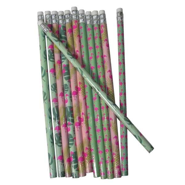12x Bleistifte Flamingo Farn Stift Schreibstift mit Radierer Radiergummi Zeichnen