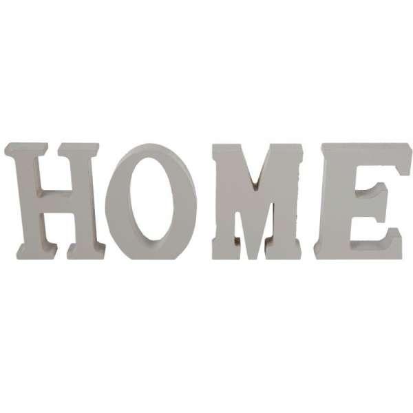 Schriftzug HOME grau Holz Buchstaben Aufsteller Deko MDF 32 x 11 cm DEKO silber-grau