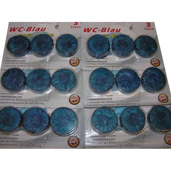 18x WC Tabletten Blauspüler Wasserkasten Tabletten Tabs Aktiv Steine Reiniger