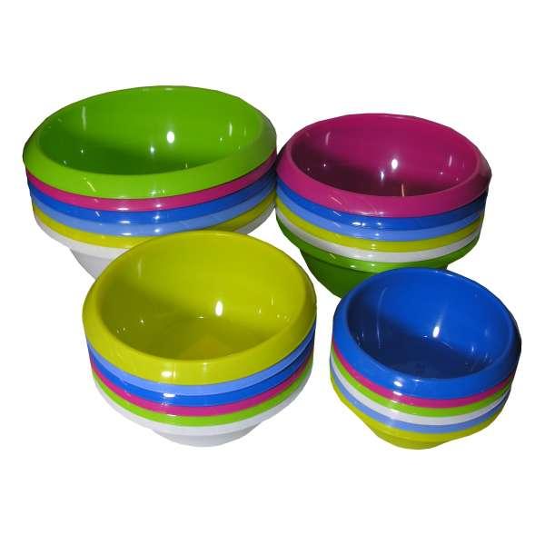 4er Set Küchen- Rühr- Salat- Schüssel Obst- Gemüse- Schale rund Kunststoff