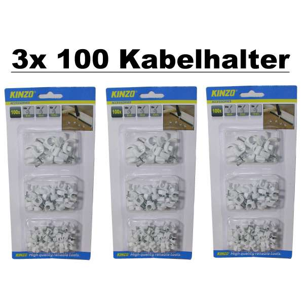 300x Kabelhalter Kabelschelle Nagelschelle Kabelklemme Kabel Clips 6/8/10mm weiss