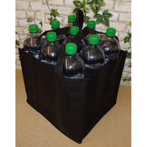 Flaschenträger für 9 Flaschen Tragetasche Bottlebag Flaschentasche Tasche schwarz