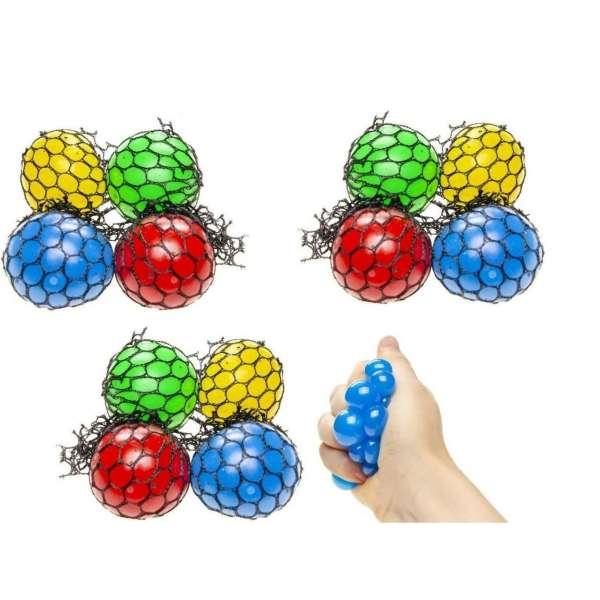 12x Quetschball Anti Stressball Knautschball Wurf Stress Knet Ball im Netz 4,5cm