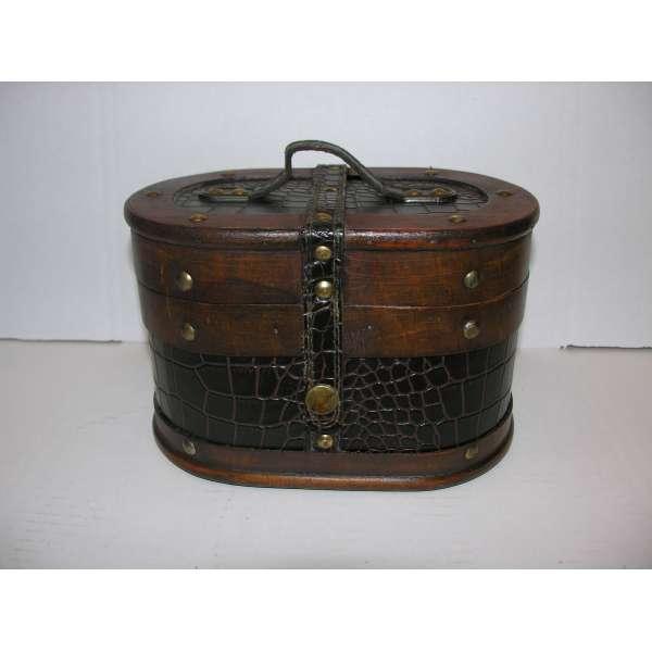 Nostalgischer ovaler Hutkoffer 23cm Holz Leder Hutschachtel Antik-Stil Truhe Box