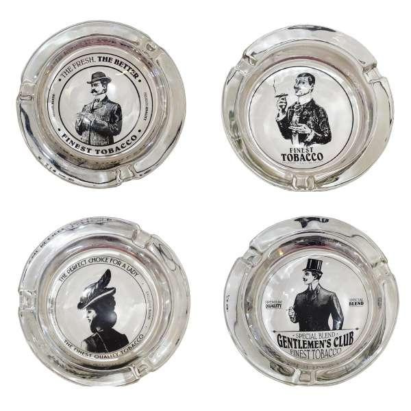 Aschenbecher Glas Retro Zigarretten Ascher schnell Loescher tabacco 4 Designs