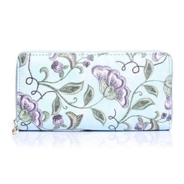 Damen Geldbörse Blumen-Muster Blau Portemonaie Geldbeutel Langbörse Brieftasche