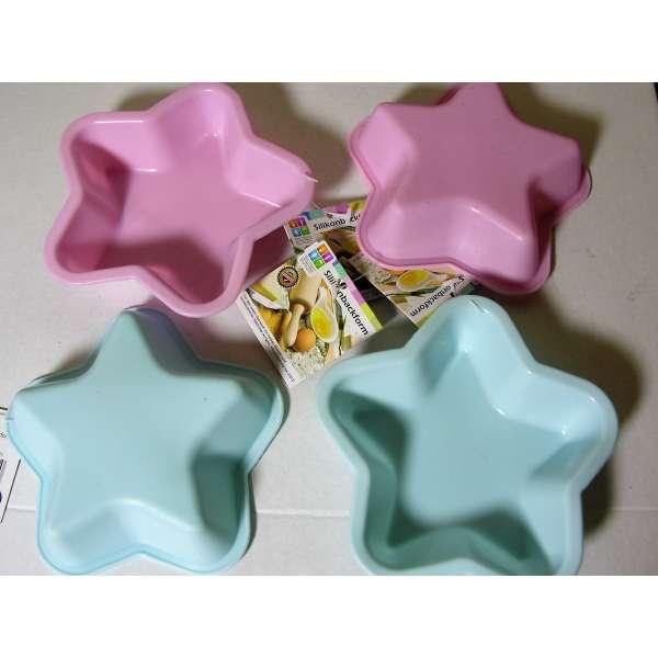 4er Set Silikon Backform Stern pink und blau 13cm Kuchenform Cupcake Form Muffin Kinder Party