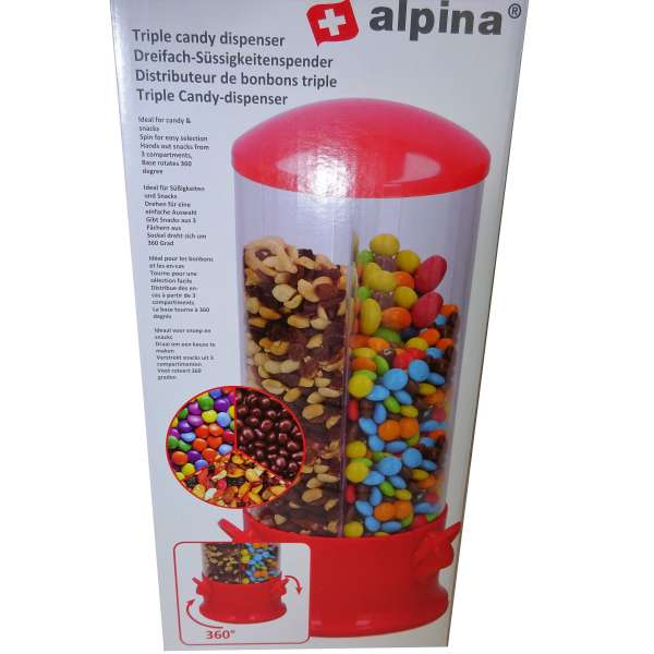 Candy Spender Bonbons Kaugummi Erdnüsse Cerialien Müsli 3 Fächer 29 x 13 cm rot