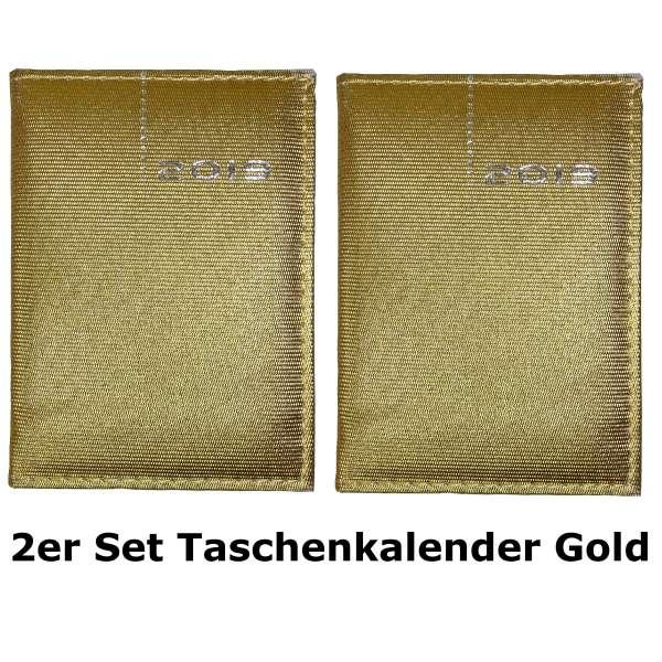 2er Set Taschenkalender 2019 DELUXE Gold Organizer Timer Business Glitzer A7