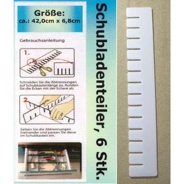 6x Schubladenteiler Schubladen Einsatz Fächer Ordnungssystem Fachteiler weiß