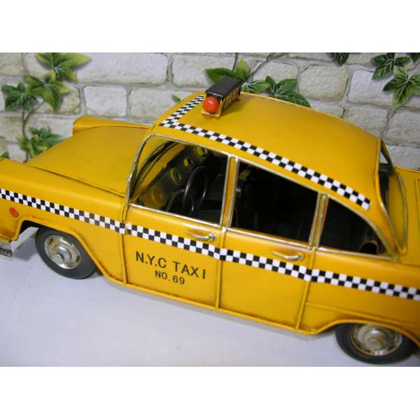 Modell Auto Oldtimer New York Yellow Cab 31cm aus Blech Taxi NYC Metall Reto Stil
