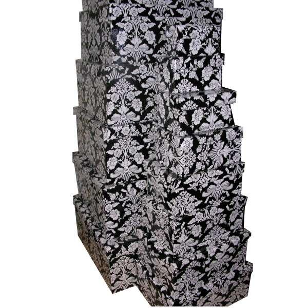 15er Set Geschenkbox schwarz weiss Blüten Geschenk Karton Box Schachtel Stapelbox