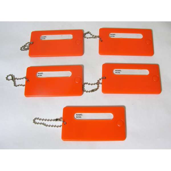 5 feste Kofferanhänger Orange mit Namensschild Kunststoff Gepäck Anhänger