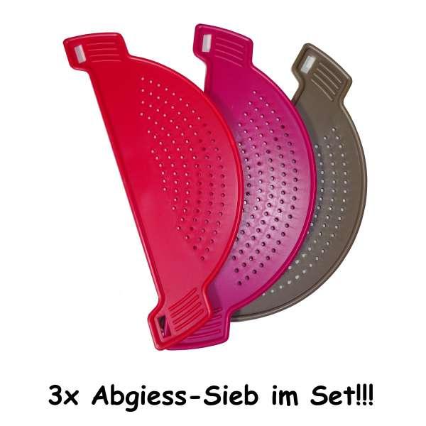 3x Abgiesssieb Abgiesshilfe Abschüttsieb Sieb Kunststoff für Töpfe Schüsseln