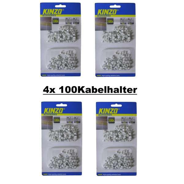 400x Kabelhalter Kabelschelle Nagelschelle Kabelklemme Kabel Clips 5/6mm weiss