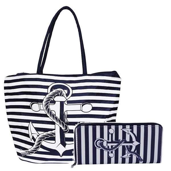 Tasche und Geldbörse im Set Maritimer Stil Anker Streifen Strandtasche Portemonnaie