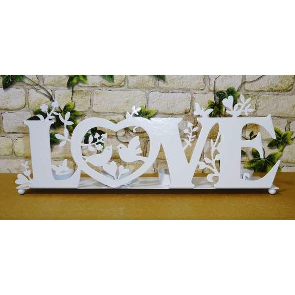 Teelichthalter Love Buchstaben Schriftzug Aufsteller Metall 31cm Deko weiß Liebe