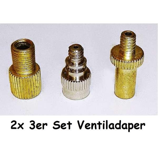 2x 3er Set Ventil Adapter universal Kompressor Luftpumpe Aufsatz Fahrrad Auto