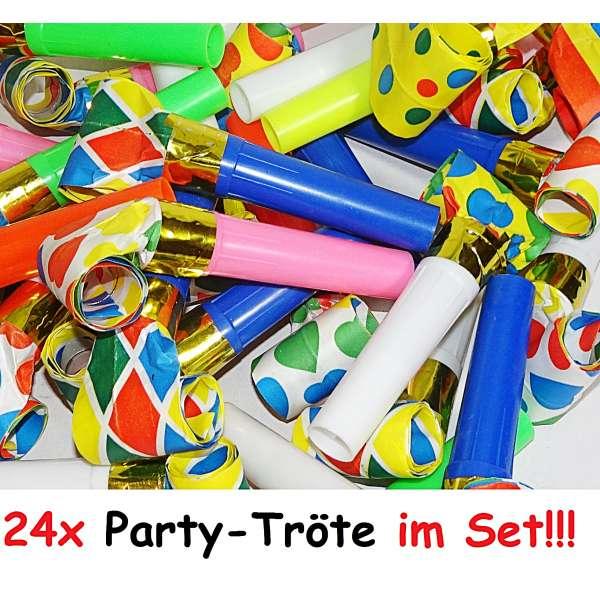 24x Tröte Luftrüssel Pfeife Kinder Mitgebsel Tombola Party Geburtstag Karneval