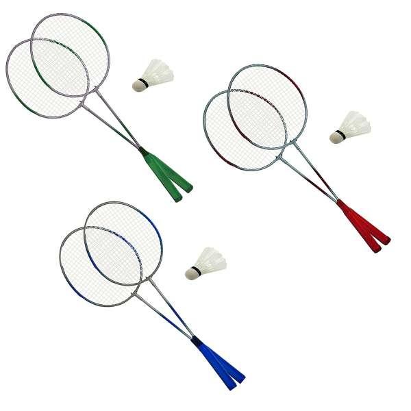 Badminton Set 3 teilig Badmintonschläger 2 Schläger + 1 Federball Ball Spiel