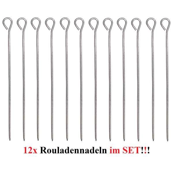 12 Stück Rouladennadeln Rouladenhalter Rouladen Spieß Nadel Edelstahl 9,8 cm