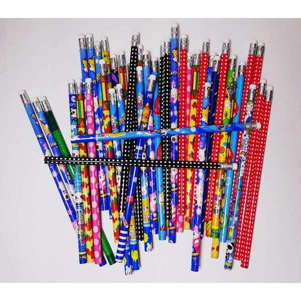 48x Bleistifte gemischte Motive Stift Schreibstift mit Radierer Schule Zeichnen ca.19cm