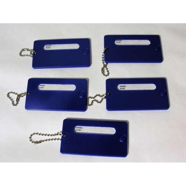 5 feste Kofferanhänger Blau mit Namensschild Kunststoff Gepäck Anhänger